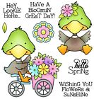 DUCK Flower Lookie Here Set CLEAR Unmounted Rubber Stamp Set Darcies POL240 NEW