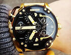 NEW DIESEL MR.DADDY 2.0 DZ7333 Black Dial Gold-tone Stainless Steel Men's Watch