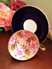 Aynsley Tea Cup and Saucer Cobalt Antique Cabbage Roses Excellent Teacup Eng
