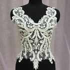 Bridal Gown Embroidery Beaded Lace Trim Off White Wedding Dress DIY Applique 1PC