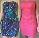 Lot of 2 Small Tight Mini Stretchy Strapless Dress Short Club Party Lace Bodycon