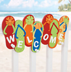 Flip Flops Welcome Sign With Hanging Hooks Summer Tropical Beach Decorating Idea