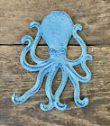 Cast Iron Nautical Octopus with Tentacle Hooks Aqua Blue Towel Coat Rack Holder