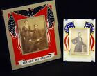 2 Vintage Art Deco Reverse Painted Patriotic American Flags Picture Frames WWll