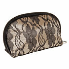 Blue Banana Lace Black Cream Travel Make Up Bag/ Cosmetic Pouch/ Toiletry Case