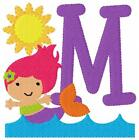 Mermaid Summer Beach Machine Embroidery Designs Monogram Font CD Joyful Stitches