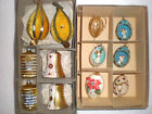 12 VINTAGE BOXED CHRISTMAS ORNAMENT EGG ANGEL DIORAMA MERCURY GLASS BELLS SATIN