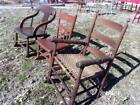3 Early Antique Primitive Rocking Chairs, square nails pegged old red paint AAFA