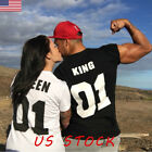 US Women Top Letter Printed Short Sleeve Matching Couple T Shirts Tee Blouse Top