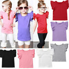 Newborn Baby Girl Flying Sleeves Cotton Tops Bodysuit Sunsuit Outfits One-piece