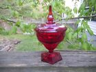 Vintage Ruby Red Viking Glass Lidded Candy Dish Compote Spike Lid