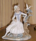LLADRO NAO 1980 SPAIN LADY ON A BENCH WITH DOVE & TREE LG STATUE RARE GORGEOUS!
