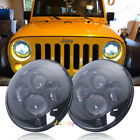 Black Pair 7 Round Cree LED Hi Lo Beam Headlights For Jeep Wrangler JK LJ TJ CJ