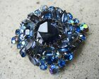 Vtg Large Unsigned 3 Tones Of Blue Glass Rhinestone Brooch Silver Toned 3 Tall