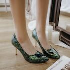 Fashion Womens printing Pointy Toes Pumps High Heels Slip On OL Party Shes Size