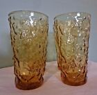 Set of 4 Anchor Hocking Lido Milano Honey Gold  Crinkle Glass 12 oz.Iced Tea NOS