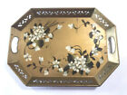 VTG Hollywood Glam Gold Floral Handpainted Metal Reticulated Tole ware Tray 18