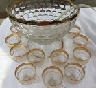 Vint GLASS Gold Thumb Print Jubilee Punch 15 P Federal Glass Co Colombia  USA*