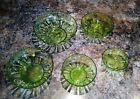 VINTAGE Five Pc Set Green Glass Glassware Serving Bowls LOOK 40'S 50'S 60'S?