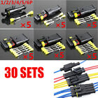 Sealed Waterproof Motorcycle 1 2 3 4 5 6Pin Electrical Wire Connector Plug 30Set
