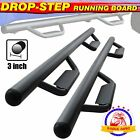 For 05 21 Toyota Tacoma Double Cab 3 Running Boards Side Step Nerf Bar HOOP