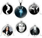 Michael Jackson Photo King Pop Music Silver Pendant Chain Necklace Free Gift Bag