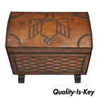 Vtg Distressed Brown Leather Brass Studded Eagle Bird Storage Cabinet Trunk 22