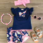US Canis Kids Toddler Baby Girl Vest Top T shirt+Flower Shorts 3pcs Outfits Set