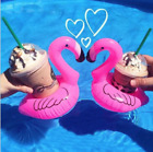 1 10xNew Inflatable Flamingo Coasters Drink Float Cup Holder Swimming Pool Party