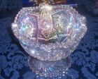 L E Smith Carnival Glass Pedestal Compote Candy Dish Pastel Rainbow Iridescent