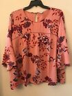 NWT Eyeshadow Womens Plus 2X Pink Red Floral Eyelet Lace Peasant Bell Blouse