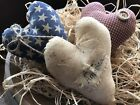 Primitive Red White N Blue Patriotic Hearts