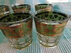 CORA SIGNED Old Fashion Highball Glasses GREEN/GOLD GRAPES/VINE-MINT SET OF 8
