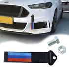 1PCS Black M color Decal High Strength Racing Tow Strap Front Rear Bumper