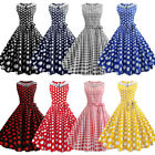 Hepburn Vintage Women Party Prom Dress Dot Design Sleeveless Belt Corset Dress