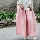 Vintage Womens Cotton Linen Oversize Pants Wide Leg Elastic Waist Casual Trouser