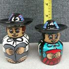 Hand Painted Mexican sombrero Couple Salt  Pepper Shaker Set Made in Mexico