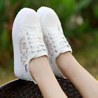Womens Summer Flat Lace Round Toe Hollow Platform Shoes Lace Up Sneakers Shoes