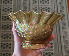 Vintage 1970s Smith Carnival Glass Bowl, Daisy Button Yellow Gold Marigold, 6