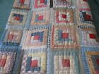 Early Antique Handmade  Log Cabin Quilt