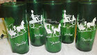 Lot of 5 Anchor Hocking Forest Green Gay Nineties Iced Tea Glasses- Very Nice!