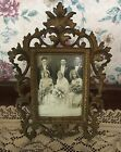 Antique Metal Victorian PICTURE FRAME Ornate Swivel Easel Foot~old wedding photo