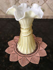 Vintage Fenton Yellow Cased Glass Ruffled Edge Wheat Vase Ribbon Swirl 1950
