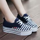 New Womens ladies Canvas Platform Lace Up Casual Tennis strip Sneakers shoes