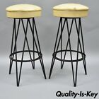 Pair Vtg Wrought Iron Metal Hairpin Leg Atomic Era Swivel Bar Stools Yellow Seat