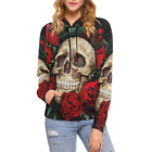 InterestPrint Custom Skull And Red Rose Hoodie Long Sleeve Women Sweatshirt