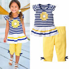 US Stock Baby Girls Kids Clothes Short Sleeves T Shirt + Pants 2Pcs Outfits Sets