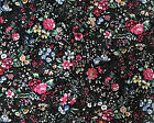by the half yard Multi Color Floral on Black Cotton Quilt Apparel Fabric BTHY