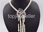 8-9mm cultured Freshwater white pearl necklace cz flower pendant assel 19""