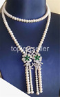 8-9mm cultured Freshwater white pearl necklace cz flower pendant assel 36""